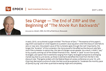 "Sea Change—The End of ZIRP and the Beginning of ""The Movie Run Backwards"""